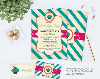 Birthday Party Invitation, Easy Acrobat Reader Template, Editable Text, Cupcake, Stripes, Vintage Design, DIY Invitation That Can Be Edited