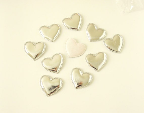 10 Silver heart appliques, SIlver metallic hearts, Faux leather silver hearts, Silver heart appliques, Padded hearts, Heart wedding applique