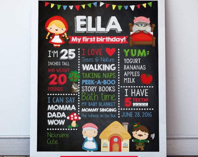 Little red riding hood poster, 1st Birthday Chalkboard Poster, First Birthday Sign, DIGITAL Print