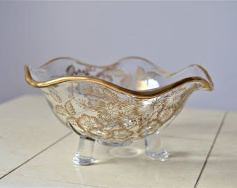 GOLD GILDED CANDY Dish Bon Bon Dish with Gold Flowers Gold Gilding