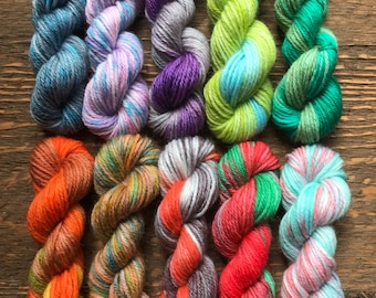 Hand Dyed Sock Yarn Mini Skein Set #135 -- 10 Mini Skeins/25 Yards Each