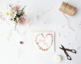 Thank you Card | Pack 5 | Wedding Thank You Card, Special Occasion Card | Note Cards | Botanical | Floral Heart | Watercolour | pink | green