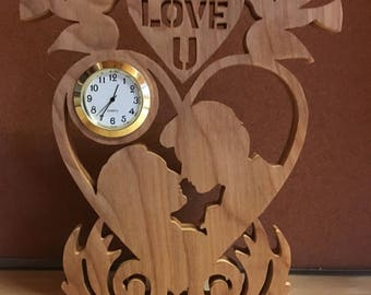 Wooden I Love You Clock