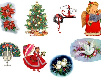 """Large Stickers (each sticker 2.5""""x3.5"""", pack 8 stickers) Scrapbooking Craft Vintage # Christmas Bits and Bobs FLONZ 140"""