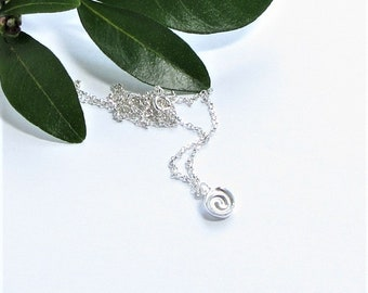 celtic spiral pendant, small celtic necklace, silver spiral pendant, everyday jewellery, round silver pendant, recycled silver pendant