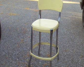 Kitchen chair, stool, Yellow and Chrome, Farm house kitchen  stool, steel, Bar stool,