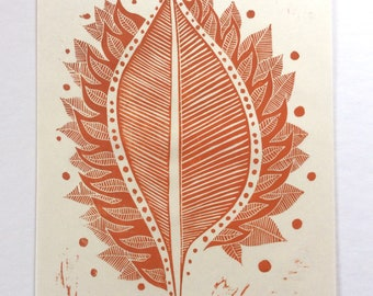 linocut - BURNING LEAF // 9x12 art print // printmaking // block print // leaf print // autumn // red orange wall art // fire art // 8x10