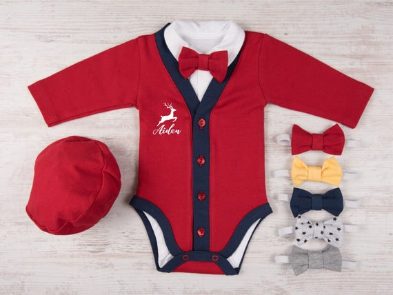 First Christmas Outfit Boy Personalized Baby Boy Christmas