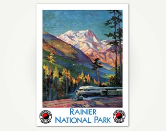 Mount Rainier National Park Poster - Northern Pacific Railroad Travel Poster Print - Washington State National Park Poster Art