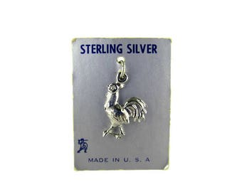 ELCO Sterling Rooster Charm/Sterling Silver Bird Charm/ 925 Cock Fight Charm/Silver Chicken Charm/ Cockerel Souvenir Charm/Gallinaceous Bird