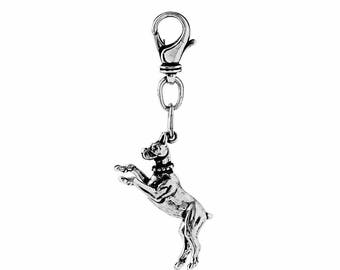 Boxer Key Chain in Sterling Silver, Dog Jewelry, Boxer Jewelry
