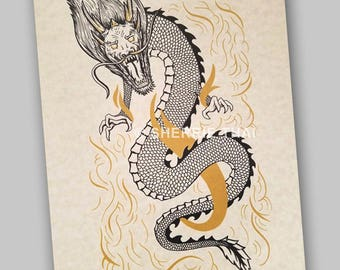 Traditional Asian Dragon Tattoo Ink Drawing Design, Art Print, Sale