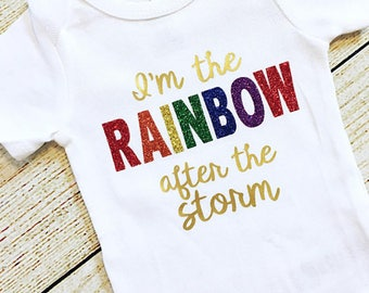 Rainbow Baby Bodysuit OR Gown, Baby Girl, Baby Shower, Coming Home Outfit, Infertility Pregnancy Announcement, After the Storm