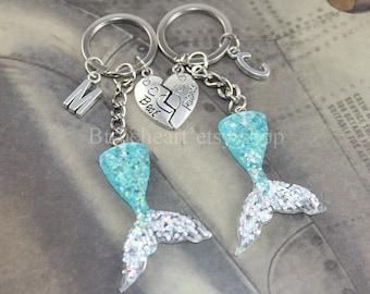 Mermaid Tail keychain, mermaid keychain, Friendship Keychains,Best Friend Keychain,Personalized Friendship gift, Initial Keychain