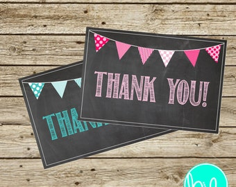 Chalkboard Thank You Cards - Boy or Girl - Instant Download