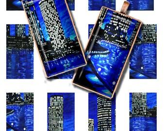 Printable 1 x 2 inch Images Digital Images for Domino Pendants Downloadable Images Magnets Bezels City Skyline
