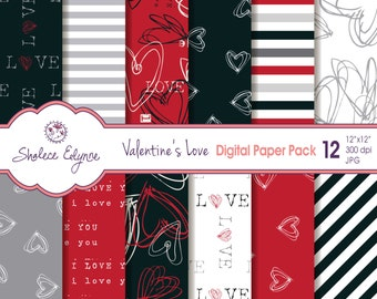 Valentine's Love Digital Paper Pack, 12x12 Red & Black for Cards, Invitations, Scrapbooking