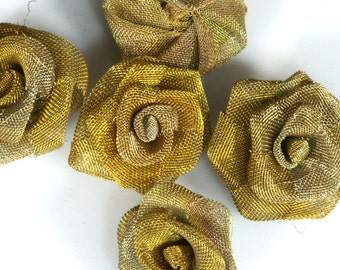 """4 pcs Steampunk Roses 3/4"""" (19 mm) Altered Art Craft Supply Oxidized Brass Wire Mesh Rose Wire Flower for Jewelry Art R1079-19"""