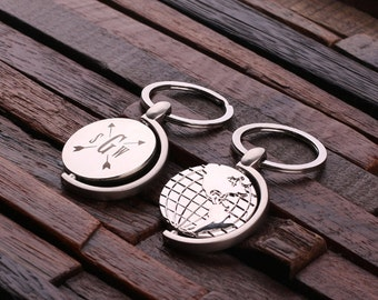 Personalized Monogrammed World Globe May  Key Chain Men, Boyfriend, Birthday Father's Day Gift Idea with  Wood Gift Box