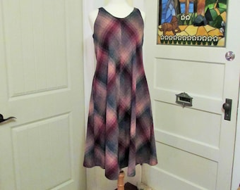 vintage plaid dress, small, made in Canada