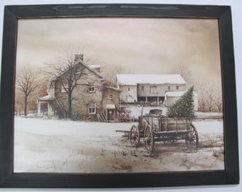 Winter Wall Art, Farm Wall Art,Country Wall Decor, Christmas Tree,Bringing Home The Tree,John Rossini,Handmade Distressed Frame,261/2x201/2
