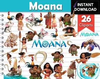 Instant Download - Baby Moana Vaiana Maui Pua Heihei Cliparts Transparent PNG - DIY Parties and Scrapbooking