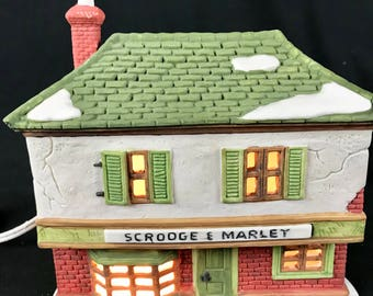 RETIRED Dept 56 Heritage Village Collection Dickens Scrooge Marley Counting House 6500-5 Lighted Building