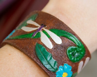 Hand Tooled Floral Dragonfly Leather Cuff Bracelet