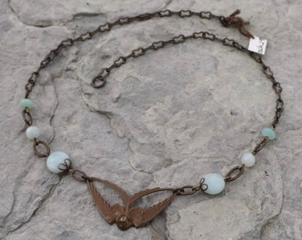Swooping Swallow in Amazonite