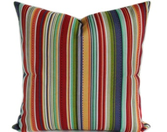 Patio cushions, Outdoor pillow cover,  Outdoor throw pillow, Red outdoor pillow, Blue outdoor pillow, Stripe pillow, 5 sizes available