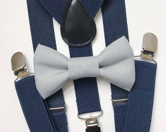 Bowtie & Suspenders- Light Gray Bowtie/Navy Suspenders/Baby and Toddler Bowties/Birthday/Wedding Party