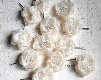 Bridesmaid Hair Pins - Wedding Accessories - Flower Girl -  Bridal Mini Hair Flower Bobby Pins - Little Sarah