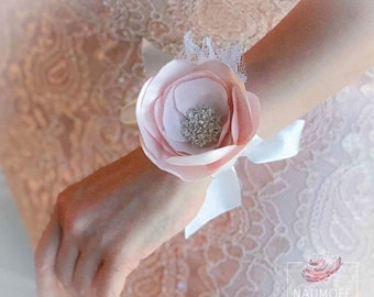 Prom Corsage, blush pink and white corsage, peony corsage, bridesmaid corsage