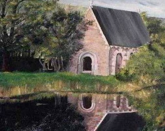 Irish Ireland Landscape St. Finbar's Chapel Greeting Card Painting Print