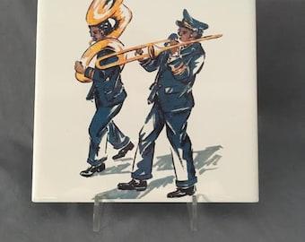 """Jazz Band Second Line  6"""" x 6"""" Porcelain Tile Trivet"""