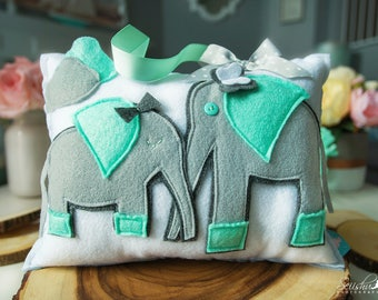 Elephant Pillow, Personalized Baby Pillow, Tooth Fairy Pillow, Elephant Nursery, Name Pillow, Tooth Fairy Girl Elephant, Gray Mint Nursery