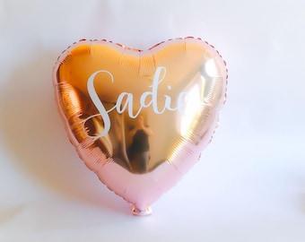 "18"" Personalised Rose Gold Heart Balloon, Wedding, Bridal Shower, Baby, Birthday"