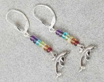 Dolphin Chakra earrings / DOLPHIN Earrings / CHAKRA Stones / 7 Chakra Jewelry / Mother Daughter Gift / Chakra Crystals / Silver Dolphin Char