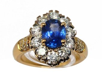Marguerite ring yellow gold and 18 K Sapphire and diamond gray