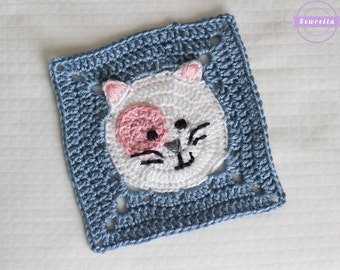 Kitty Cat Crochet Granny Square Pattern pdf instant digital download