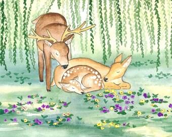 Deer Card~Deer Family~Deer Watercolour~Animal Watercolour~Forest Animals~Whimsical~