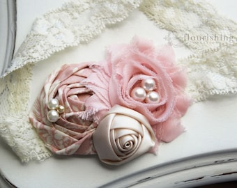 Vintage Pink and Cream Rosette headband, pink flower headbands, cream headbands, baby headbands, newborn headbands, photography prop