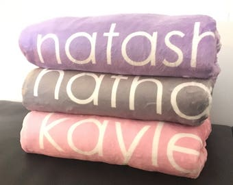 Personalized Baby Blanket, Custom Name Baby Blanket, Receiving Blanket