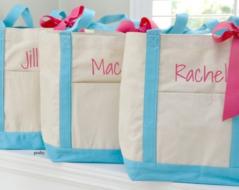 Personalized Tote, Bridesmaid tote, Bridal Party, gift, Maid of honor, gift for her - LARGE boat tote
