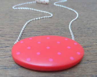 Red pendant - oval resin reversible pendant