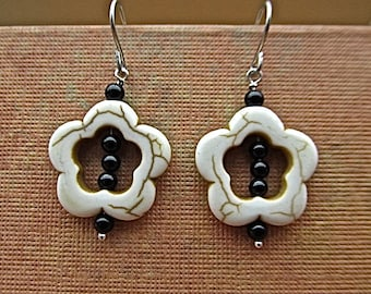 Magnesite, black onyx earrings