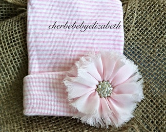 Hospital hat, Newborn Pink flower w/ jewel, bling coming home hat, Newborn, floral, Pink striped jewel hat, Hospital Hat