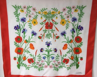 Vintage Italian ELLA  scarf Poppies spring flowers against white , neck scarf head shoulder shawl designer signed pure acetate 31 by 30