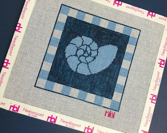 Square 4 inch shell coaster needlepoint canvas