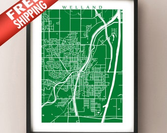 Welland, ON Map - Canada Wall Art - Ontario - Niagara Region